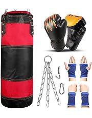 Odoland Saco de Boxeo Set 7-In-1 para Niños Sin Relleno, 2 pies/60 cm Saco de Boxeo Pesado con Guantes de Boxeo de 6 oz y Mangas Protectoras para Manos Cadenas para Colgar y Gancho