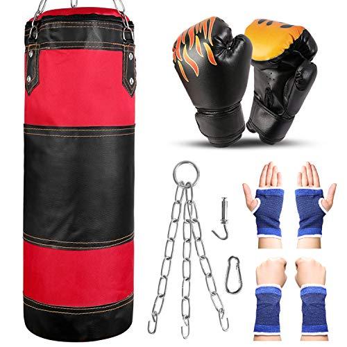 Odoland Boxsack Set für Kinder und Jugendliche 7 IN1 Box Set mit 2FT Boxsack Ungefüllt 6OZ Boxhandschuhen Stahlkette Karabinerhaken Schutzbänder Sandsack Kickboxen MMA Kampfsport Muay Thai