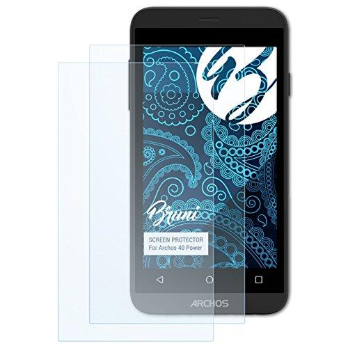 Bruni Schutzfolie kompatibel mit Archos 40 Power Folie, glasklare Bildschirmschutzfolie (2X)