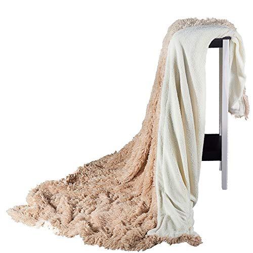 SIKESONG Longs Cheveux Super Doux Fluffy des Pierres Élégant Canapé Lit Couverture Couverture Kakis 220×240Cm