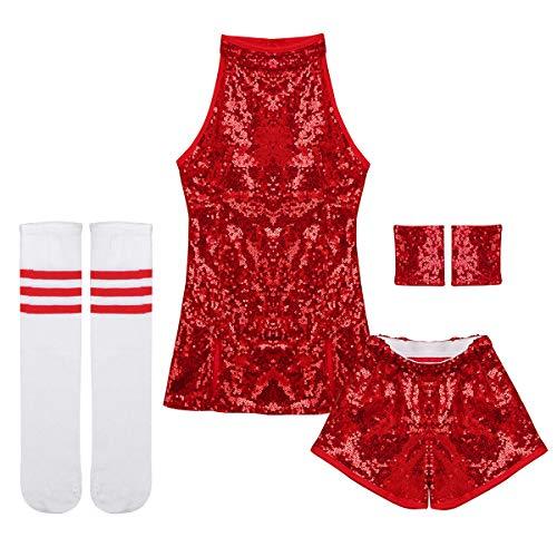 Tiaobug TiaoBug Mädchen Cosplay Kostüm Set Tanzkleid Outfits ärmellos Top + Hot Pants + Armband + Socken Kinder Hip-Hop Jazz Cheer Leader College Strümpfe Rot 98-104