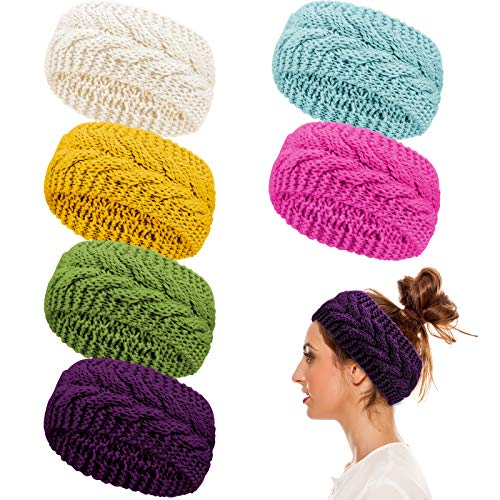 Whaline 6 Pieces Twist Knitted Headbands Winter Ear Warmers, Crocheted Turban Head Wraps Elastic Hair Band Accessories, Hair Scrunchies Scarves for Women Girls (Candy Colors)