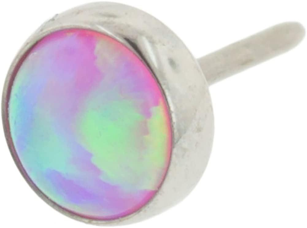 Steel Navel Body Jewelry Threadless Titanium Synthetic Opal Cabochon End: 18g High Polish, Gem: 4mm, Pink Opal Gem