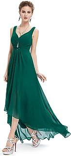 Alta Baja Vestido de Fiesta Gasa Cuello en V sin Mangas para Mujer 09983