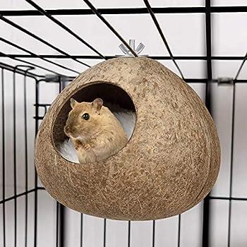 POPETPOP Nid pour Les Oiseaux Hiver Chaud Nid Doiseau Maison Naturelle de Noix de Coco Simulation Nichoir Herbe Cabane Doiseau Perruche Nichoir (Pas de Couverture)