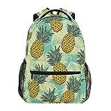 Xinkaize Mochila impermeable unisex de viaje, bolsa de deporte al aire libre, senderismo, camping, escuela, hojas tropicales y piña