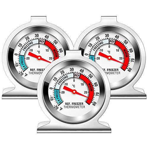 Kühlschrank Thermometer, Vintoney 3er Kühlschrankthermometer Set Kuhlschrankthermometer Thermometer für Kühlschrank Gefrierschrank analog Kühlschrank-thermometer für Familien Restaurants Cafés