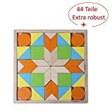 W & Julian Large Game Puzzle Wooden Panel Mosaic 44Pieces with Colourful Geometric Shapes in Box 3D Puzzles for Children 3