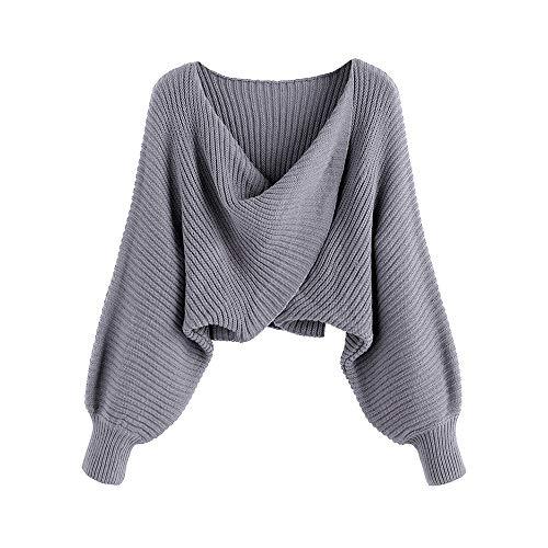 ZAFUL Damen Sexy V-Ausschnitt Lange Flügelhülse Asymmetrisch Twist Rückenfrei Ernte Gestrickt Sweatshirt Jumper(Grau,L)
