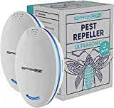 Ultrasonic Pest Repeller Plug-in Control Electronic Insect Repellent Gets Rid Mosquito Bed Bugs Roach Spiders Fleas Mice Ants Fruit Fly [2-Pack]