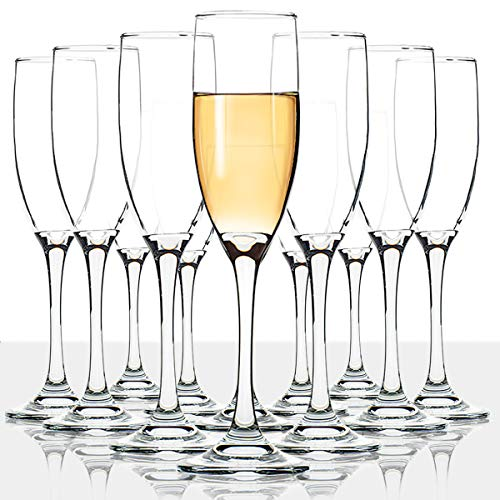 Classic Champagne Flutes, Set of 12, 6 Oz Premium Stemmed Champagne Glasses, Sparkling Wine Glass, Crystal Clear