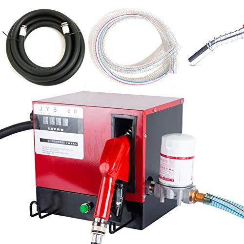 Dieselpumpe Kraftstoffpumpe 230V Selbstansaugend Heizölpumpe 60L/Min 550W Abschaltautomatik Heizöl Pistole, Dieselschlauch 1 Zoll