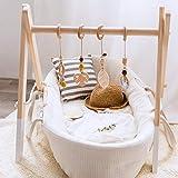 Mamimami Home 4pc Anillo de Madera Baby Teether Activity Juego de Enfermería Gimnasio Sonajero Colgante Juguete Regalo Recién Nacido + Juego Blanco Gimnasio