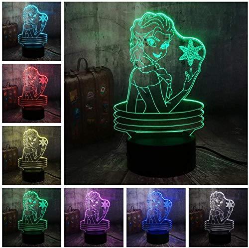 Veilleuse De Noël Belle Reine 3D Lampe Visuelle Illusion Bureau Led Veilleuse Jouets De Neige Décor À La Maison Fille Bébé D'Anniversaire Cadeaux De Noël