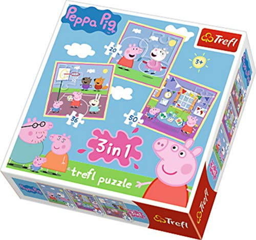 TREFL 34813 - Puzzle 3 en 1 'Peppa Pig Playing at School