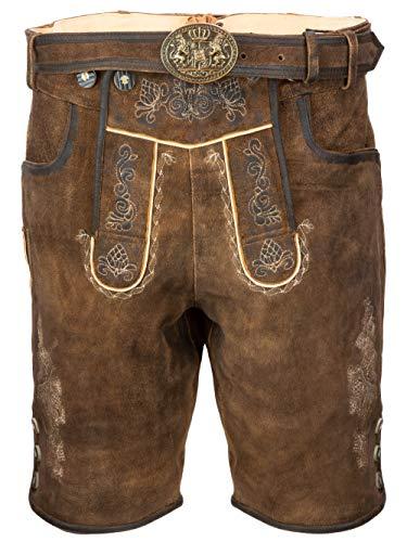Heren klederdracht leren broek in bruin - korte Beierse lederbroek geitenleer + klederdrachtriem incl. gesp in Beieren look - zonder lederhosendragers, maten 44 tot 56