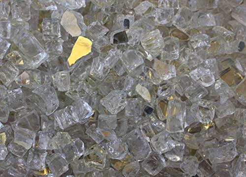 Exotic Fire Glass | Gold Reflective Fire Pit Glass | 25 Pound Bag | Medium 1/2 Inch Glass Size | Perfect for Any Natural…