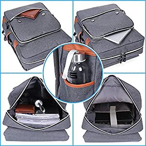 Modoker Vintage Laptop Backpack for Women Men,School College Backpack with USB Charging Port Fashion Backpack Fits 15 inch Notebook (Grey)