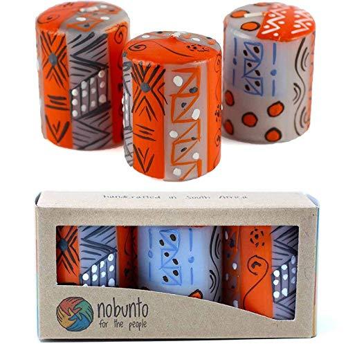 UKN Hand Painted Votive Candles in Kukomo Design (Box of Three) Orange Bohemian Eclectic Wax Handmade