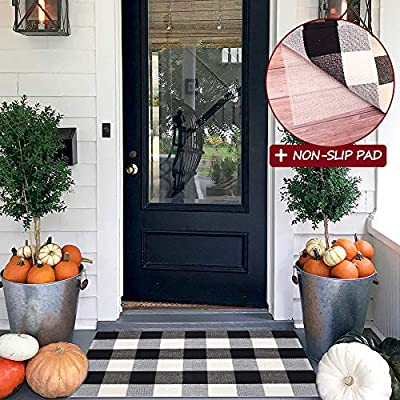 Buffalo Plaid Rugs with Non-Slip Pad, 23.6''X35.4'' Check Rug Black and White Washable Cotton Woven Outdoor/Indoor Doormat for Porch/Kitchen/Bathroom/Laundry Layered Door Mats [Upgraded]