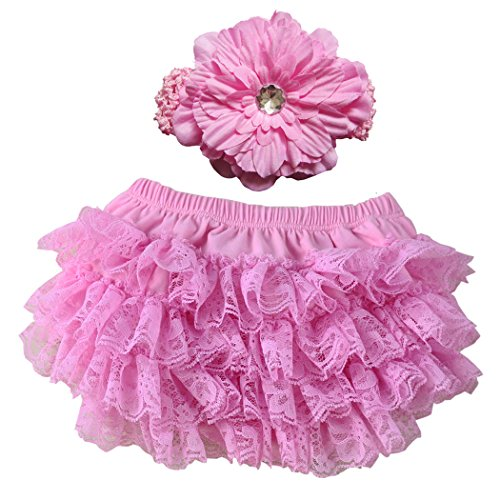 Wennikids Lace Ruffle Diaper Cover Bloomer and Headband Set for Baby Girls Large Pink