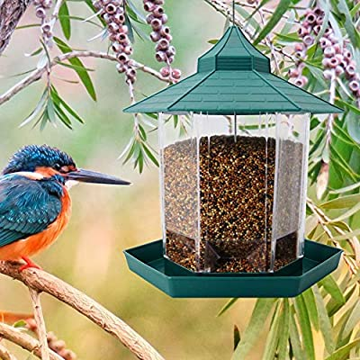 SAND MINE Panorama Bird Feeder, Hexagon Shaped with Roof Hanging Bird Feeder for Garden Yard Decoration