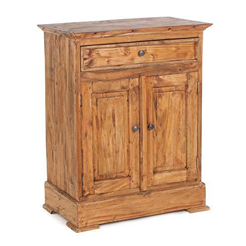 FLURSCHRANK FINCA | Beistellschrank mit Schublade und zwei Türen, Mahagoni Massivholz, 78x63cm (HxB) | Sideboard im Landhausstil, Holzschränkchen, Bauernkommode | Farbe: 08 honigfarben gewachst