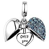 """Lovans - Charm a forma di cuore in argento sterling 925, con scritta """"I Love You""""', per braccialetti Pandora fai da te e Argento, colore: Blu, cod. S050B-FRK"""
