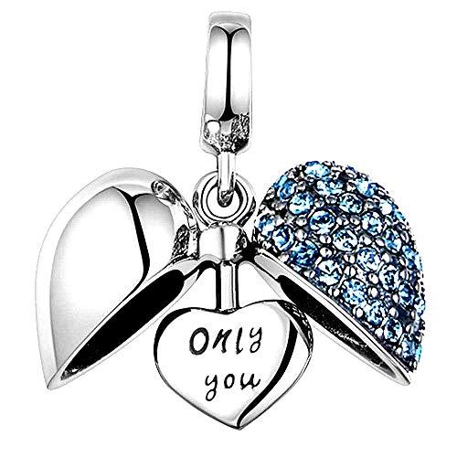 Grano del Encanto del corazón 925 de Plata esterlina para Pulseras Pandora (Blue)