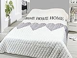 FashionundJoy XL Bettüberwurf Herzen Tagesdecke gesteppt 220x240 Steppdecke Home weiß grau Überwurf ÖKOTEX Decke Cottage Country Shabby Chic Typ456