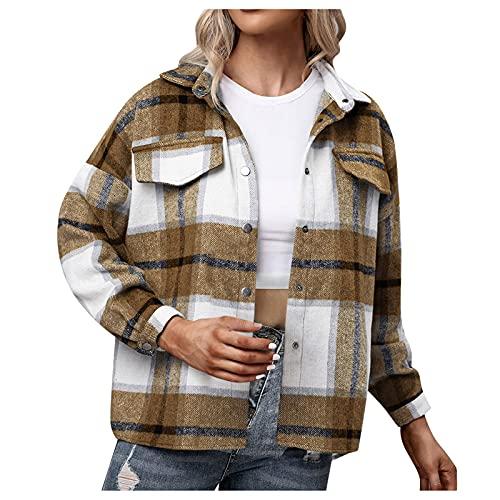 Berimaterry chaqueta mujer con estampado de Cuadros Escoceses moda 2021 otoño invierno Cazadora corta mujer con botones Abrigos casual blusa Diario Rebecas holgado chaqueta moto jaket mujer ropa top