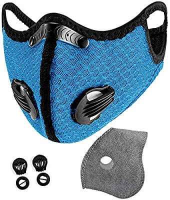 With 12 activated carbon filters, 8 filter valves, unisex, interchangeable, suitable for cycling, running, outdoor sports, black breathable ear hooks and tobacco powder (sky blue) from yachen