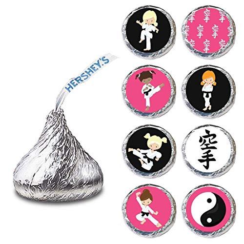 Karate Girl Label für Hershey's Kisses® Pralinen - Martial Candy Sticker Party Favor - Set von 240