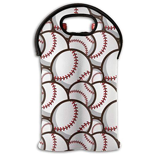 90ioup Reisetasche für 2 Flaschen mit Baseball-Muster