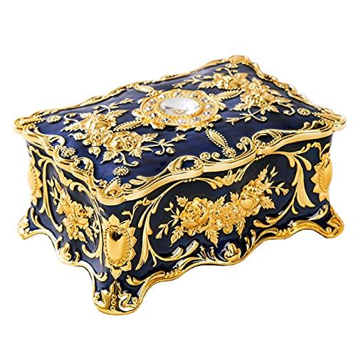 Shuliang Caja de joyería rectangular vintage, anillos de aleación, organizador del tesoro, caja de recuerdo, caja de joyería decorativa regalo para cumpleaños, mujer, niña, 9 x 6 x 4,2 cm