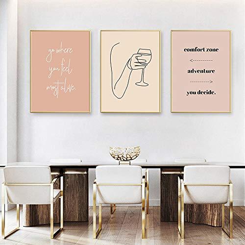 xwwnzdq Abstract vrouwenlichaam canvas afbeelding lijntekening tekening druk toast schilderij citaten wandposter Boho Home Decor 40x60cmx3 oningelijst