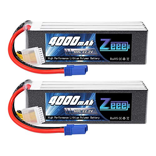 Zeee 22,2V 60C 4000mAh 6S Lipo Akku RC Batterie mit EC5 Stecker für RC Car RC Truck RC Auto Boot Helicopter LKW Truggy RC Hobby (2 Packungen)