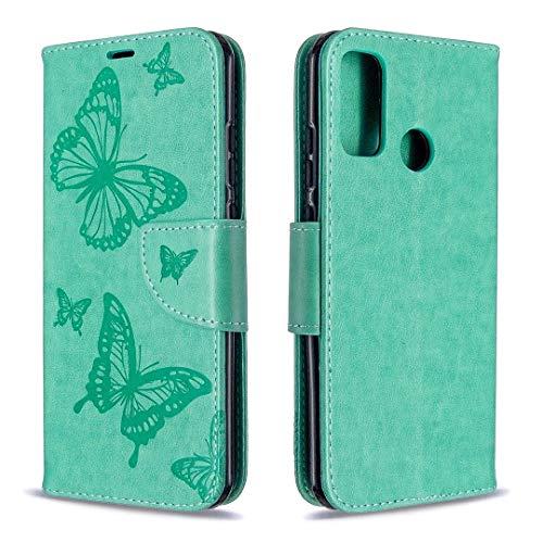 Byr883onJa Funda protectora para Huawei P Smart (2020) Dos mariposas estampado en relieve horizontal Flip Funda de piel con soporte y ranura para tarjetas, cartera y cordón para teléfono (color verde)