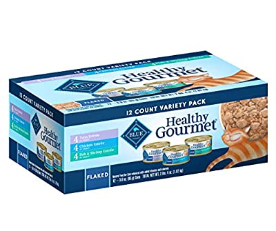 Blue Buffalo Healthy Gourmet Natural Adult Flaked Wet Cat Food Variety Pack, Tuna, Chicken, Fish & Shrimp 3-oz cans (12 count- 4 of each flavor)
