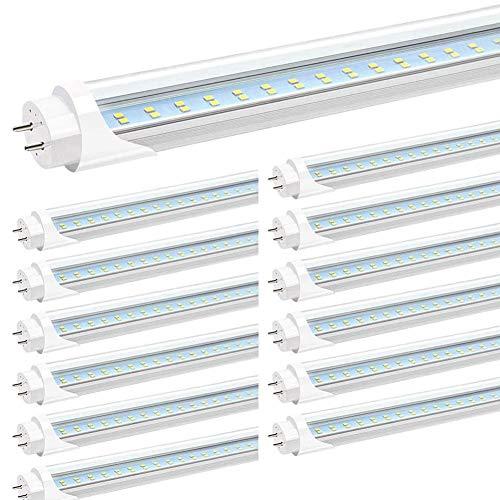 JESLED T8 4FT LED Tube Light, Clear Cover, 24W 6000K Cool White, Dual-end Powered G13 Base (12Pack-6000K)
