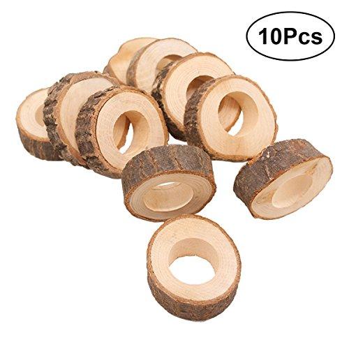 Healifty Serviettenringe aus Holz Holzring für Hotel Hochzeit Geburtstag Party Tisch DIY Handwerk 10 Stücke