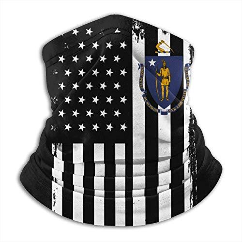 Neck Gaiter Distressed USA Massachusetts Flag Winter Balaclava Face Hats Winter Ski Neck Warmer Guêtre Neck Gaiter Headband Cold Weather