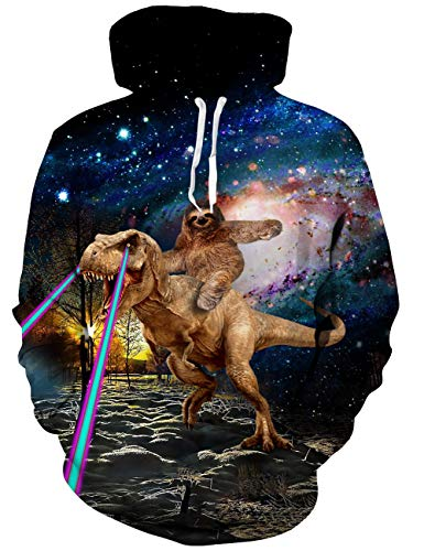 Mens Pullover Hoodie Unisex Cute 3D Print Dinosaur Sloth Fleece Hooded Sweatshirt Crewneck for Women with Kangaroo Pocket Drawstring Casual 2019 Outer Space Tops Long Sleeve