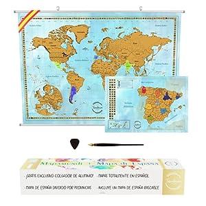 Mapa Mundi Rascar en Español + KIT PARA COLGAR PARED + Mapa de España con Provincias