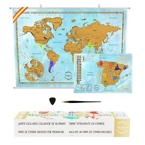 Mapa Mundi Rascar en Espaol + KIT PARA COLGAR PARED + Mapa de Espaa con Provincias