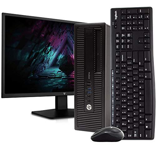 "HP ProDesk 600 G1 SFF PC Desktop Computer, Intel i5-4590, 8GB RAM 500GB HDD, Windows 10 Professional, New 23.6"" FHD V7 LED Monitor, New 16GB Flash Drive, Wireless Keyboard & Mouse, DVD, WiFi (Renewed)"