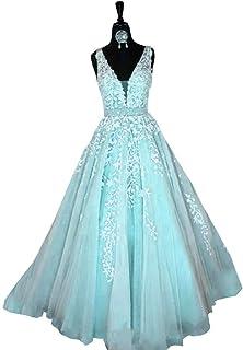 b8459b1a4ed2 Abaowedding Women's Wedding Dress for Bride Lace Applique Evening Dress V  Neck Straps Ball Gowns