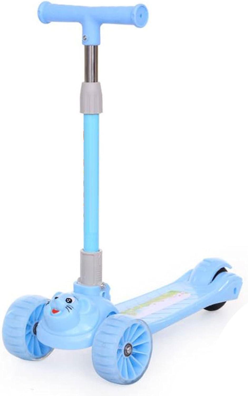 Patinete infantil apto para niños y niñas mayores de 2 años, con manillar ajustable, ruedas flash de PU, dirección ligera con inclinación del marco, soporte de carga plegable 80KG -B/D