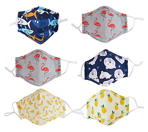 Cloth face covering for kids reusable washable with filter pocket adjustable earloop, for 4 to 10 years old (Combo3)