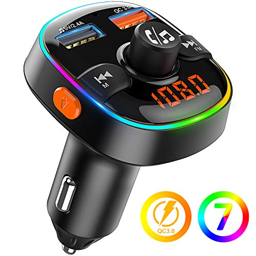 Bovon Bluetooth FM Transmitter QC3.0 Auto Ladegerät, Bluetooth Auto Adapter Radio Transmitter [mit 7 Farbiges Umgebungslicht], Kabellose KFZ Freisprechanlage, Unterstützt TF Karte/USB-Stick